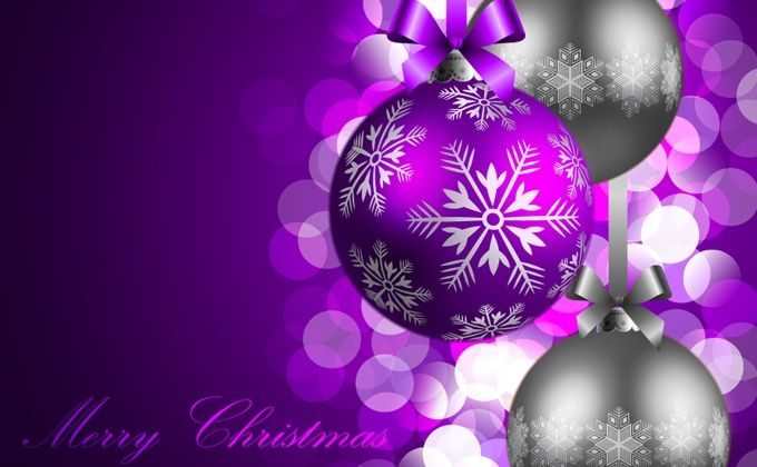purple xmas card